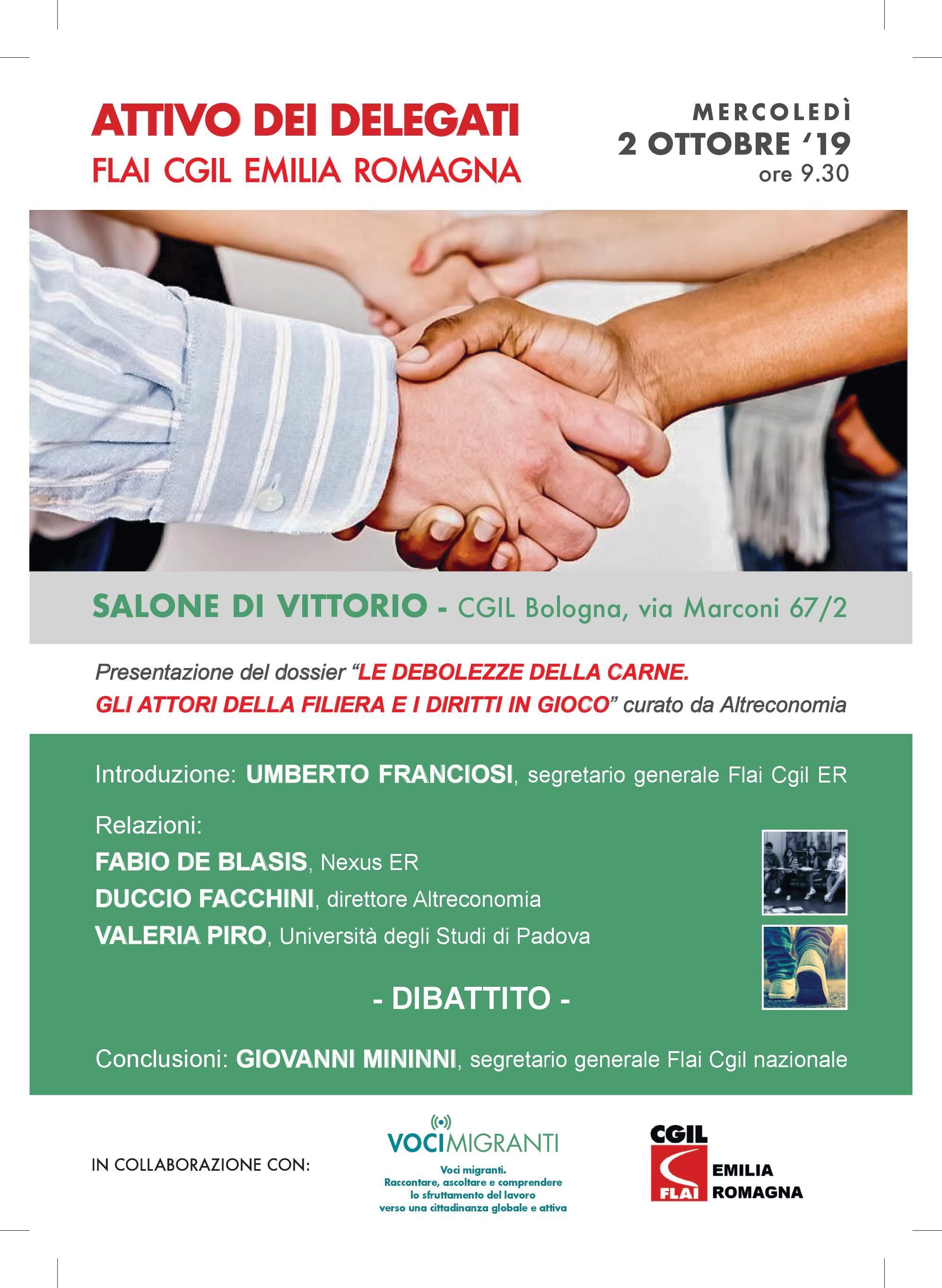"""Flai Cgil ER, presentazione dossier """"Le debolezze della carne. Gli attori della filiera e i diritti in gioco"""", 2/10 Bologna"""