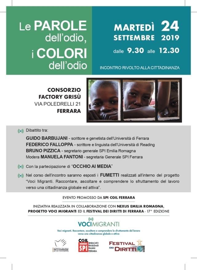 """""""Le parole dell'odio, i colori dell'odio"""", 24 settembre, Ferrara"""