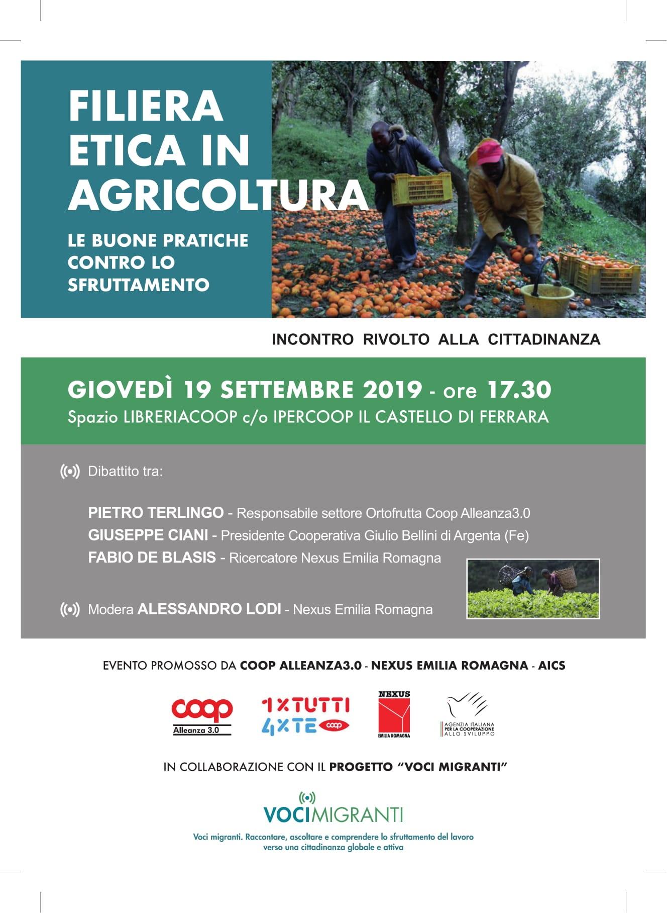 FILIERA ETICA IN AGRICOLTURA, LE BUONE PRATICHE CONTRO LO SFRUTTAMENTO, Ferrara 19/09
