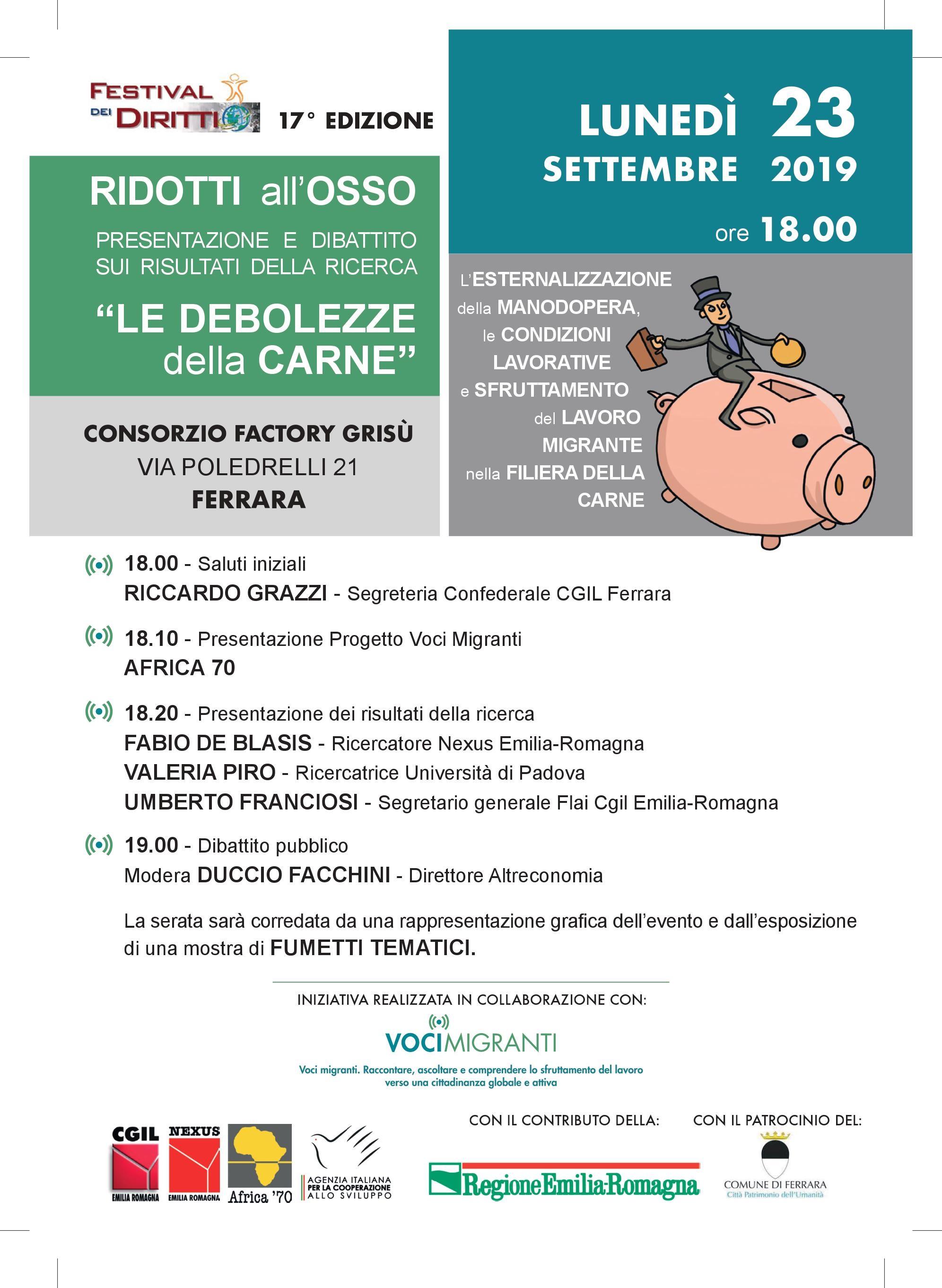 """Festival dei Diritti-Voci Migranti: """"Ridotti all'osso"""", 23/09 Ferrara"""