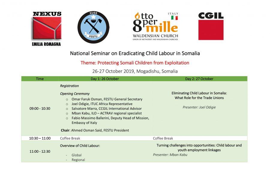 Seminario nazionale sull'eliminazione del lavoro minorile in Somalia, 26-27 ottobre Mogadiscio