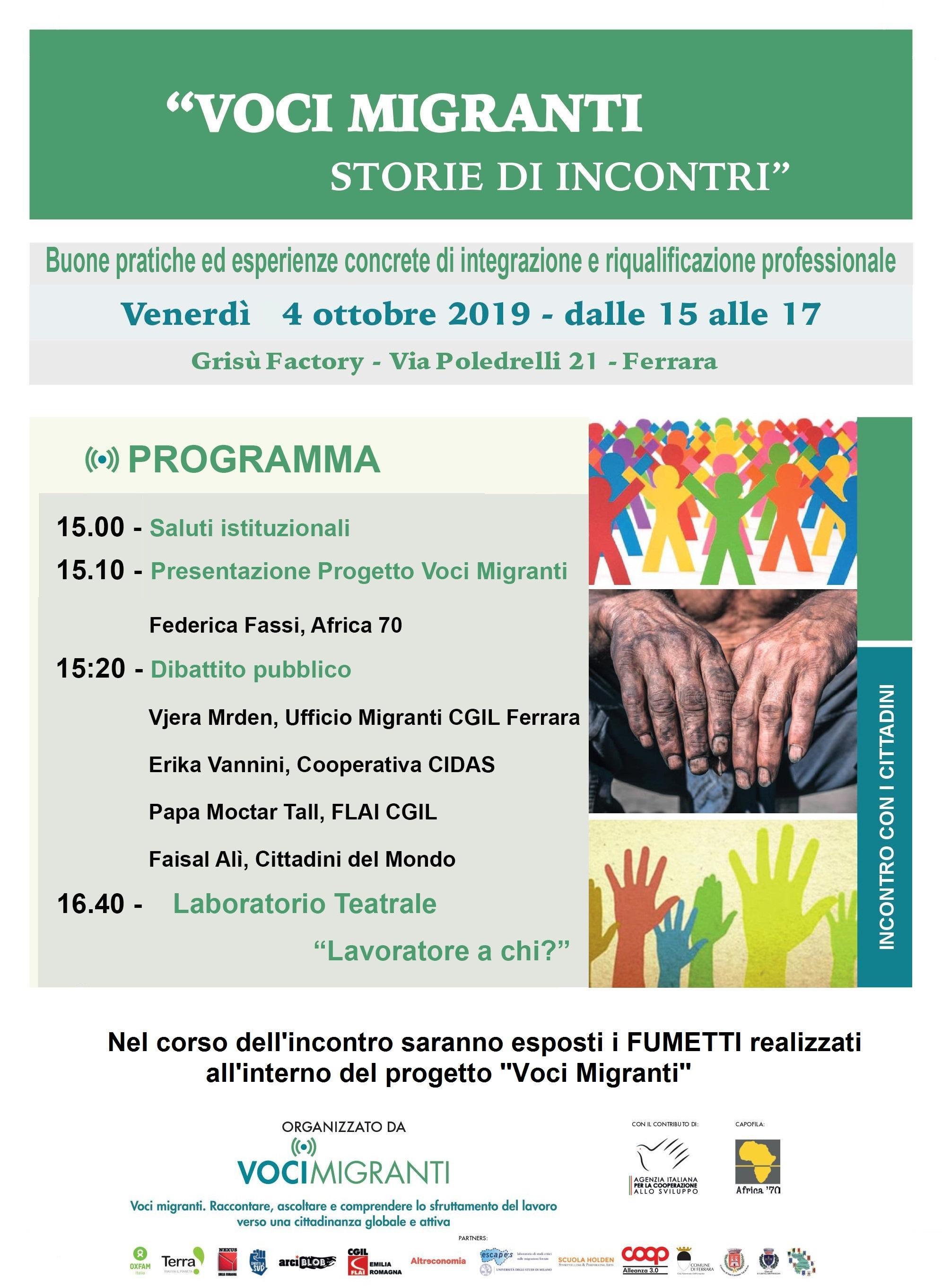 """Voci Migranti """"Storie di incontri"""", 4 ottobre 2019 Ferrara, Grisù Factory ore 15"""