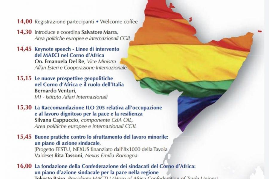 Cgil nazionale, Nexus ER: Lavoro dignitoso e pace nel Corno d'Africa, Roma 21 gennaio 2020