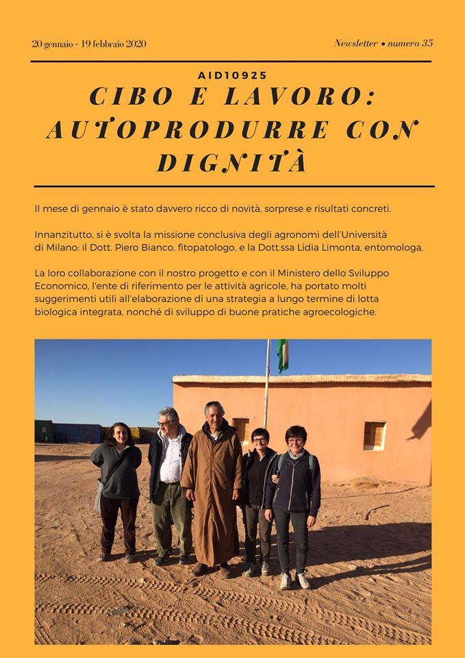 """Sahrawi: newsletter n. 35 """"Cibo e Lavoro: autoprodurre con dignità"""""""
